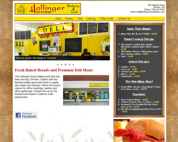 Hollinger House Bakery home page