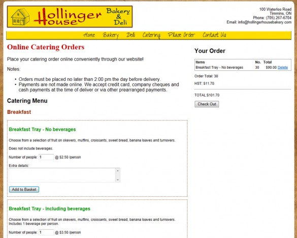 Hollinger House Bakery catering order page
