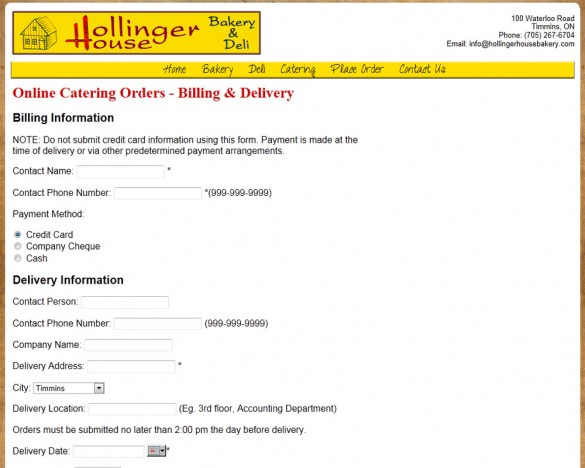 Hollinger House Bakery catering checkout page