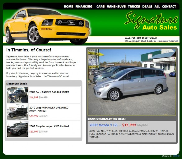 Signature Auto Sales home page