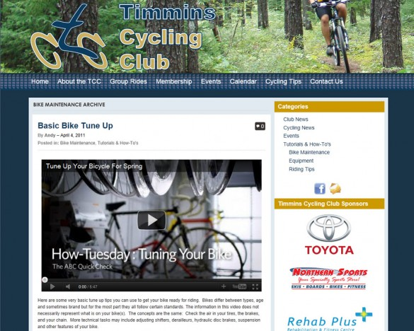 Timmins Cycling Club tips page