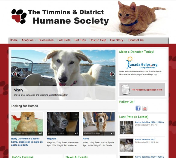 Timmins Humane Society home page